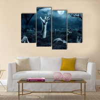 Zombie Hand Out Of His Grave Multi Panel Canvas Wall Art
