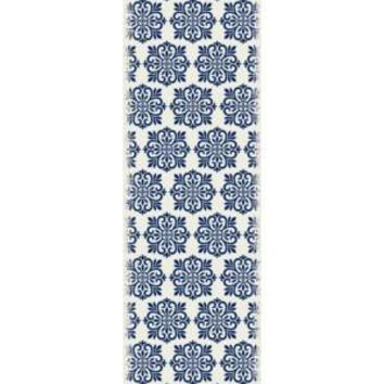 Modern European Design  Size Rug: 2ft x 6ft blue & white color with a weather aged finish super durable and multilayer technical grade vinyl rug.