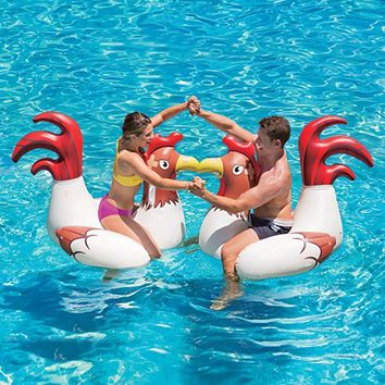 Inflatable Chicken Fighting Play Ride-On Float Inflatable Raft Unisex PVC Air Mattress Party toy Adult Swimming Pool Accessories