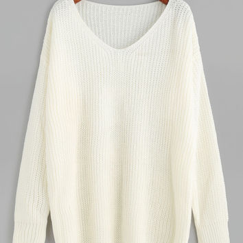 White Oversized V Neck Drop Shoulder Sweater
