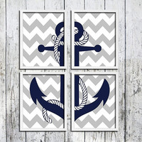 Nautical wall decor Maritime modern Bold chevron Navy blue Ship anchor art Naval Poster prints Nautical nursery Boys room decor Gift for him