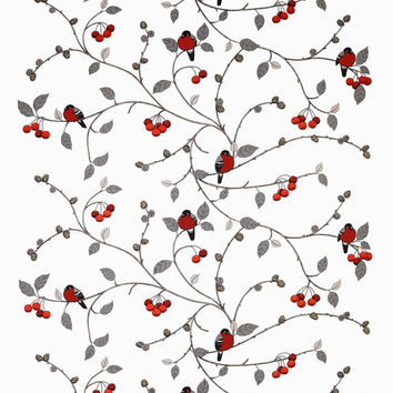Tablecloth white red Robins Rowan tree Birds Modern Scandinavian decor , runner , napkins , pillow , curtain available, great GIFT