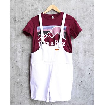 over it - shortall overalls - white denim