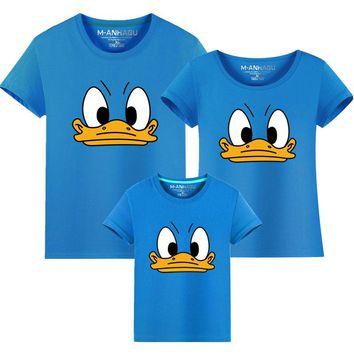 Family Reunion Summer Cartoon Duck Pattern Family Mather Boy t shirt Father and Son Clothes Tops Tee Family Matching Outfits