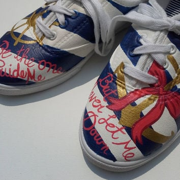 Hand Painted Canvas Shoes With Anchor and Quote