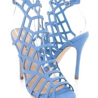 Blue Strappy Cut Out Single Sole Heel Booties Nubuck