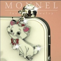 ip241 Luxury Marie Cat Anti Dust Plug Cover Charm For iPhone 4 4S