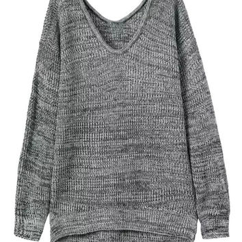 Gray V-Neck Side Split Chunky Long Sleeve Knit Sweatshirt