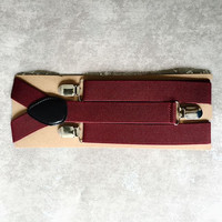 Gentlemen Mens Burgundy Red Elastic Suspenders - Groomsmen Suspenders - Wedding Mens Burgundy Red Suspenders - Gifts for Groomsmen