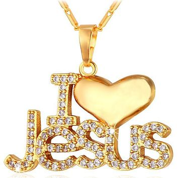 "I Heart Jesus Necklace Christian Jewelry ""I Love Jesus"""