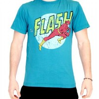 The Flash Distressed Run Adult Teal Blue T-Shirt - Shirts Sheldon Has Worn - | TV Store Online