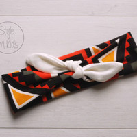 Geometric Print Knot Headband with WHITE Bow Headband Knot Toddler Headband Head Wrap Baby Bow Headband Newborn Knot Headband