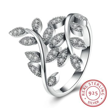 925 Sterling Silver Ring Olive branch diamond ring