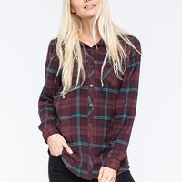 Full Tilt Boyfriend Womens Hooded Flannel Shirt Multi  In Sizes