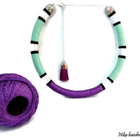 Funky necklace. African statement necklace. Tribal necklace. Boho chic necklace. Ethnic necklace. Color block necklace. Tassel necklace.