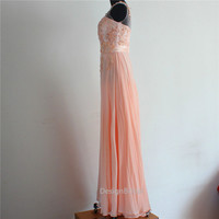 10% OFF Discount Graceful Peach Pink Embroidery Bridesmaid Dress,Chiffon Long Evening Dress,V Backless Prom/Party Dress,Bridesmaid Dresses