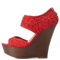 Coral Crocheted Lace Two-Piece Platform Wedges by Charlotte Russe