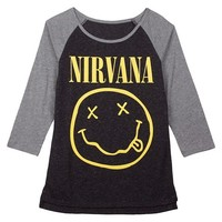 Junior's Nirvana Smile Graphic Raglan Tee Shirt