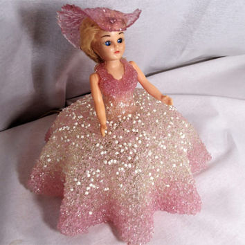 Doll Night Light Lamp, Southern Bell with Blond hair dressed in a Pink fused Acrylic Lucite dress and hat, movable arms, open close eyes