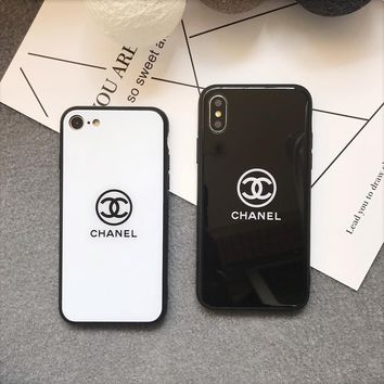 """""""Chanel"""" Simple Letter iPhoneX/8/6S Tempered Glass Soft Edge Phone Case iPhone7 Plus Couple Apple Phone Shell"""