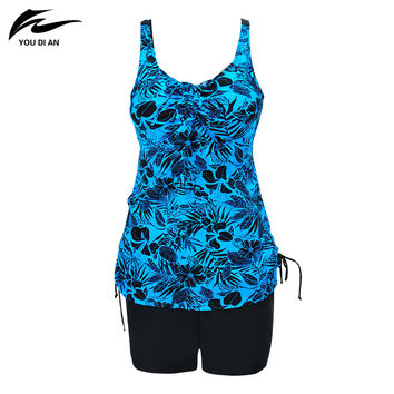 Plus Size Swimwear Two Pieces Women Swimsuit Print Halter Bathing Suit Padded Large Size Nylon Fabric Five Colors Available