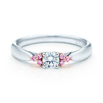 Tiffany & Co. - Tiffany Harmony Fancy Pink diamond side stone ring in rose gold and platinum.