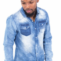 European Cut Button Up Bleached Denim Shirt