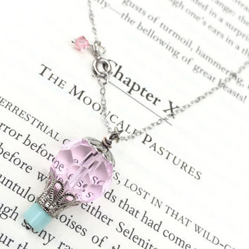 Hot air balloon pendant steampunk necklace victorian jewelry sterling silver chain pastel goth pink blue crystal elegant lolita cottage chic