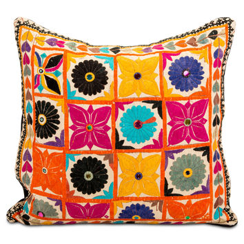 Banjara Flower Embroidered Pillow II