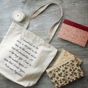 Mr. Darcy Quote Tote Bag - Pride and Prejudice - Jane Austen Quote - Gift Ideas for book lovers