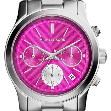 Michael Kors 'Runway' Chronograph Bracelet Watch, 39mm - Silver/ Hot Pink