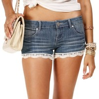 Medium Denim Lace Hem Shorts