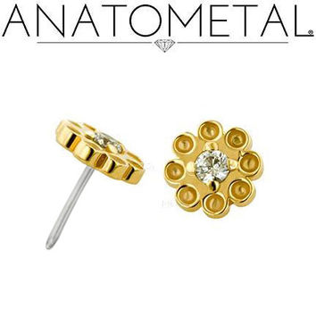 Anatometal: 18K Gold THREADLESS Dazy End with Faceted Gem