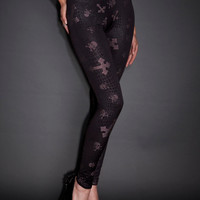 See You Monday Studded Cross And Skull Leggings