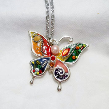 Colorful, Beautiful Butterfly Pendant Necklace, Silver Tone, Converted, Faux Pearl, Collage Collage, Enamels, Silver Tone Chain