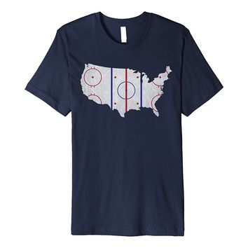American Hockey Pride | USA Map Design T-Shirt
