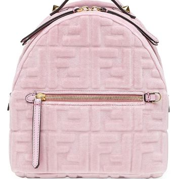 Pink Velvet FF Monogram Mini Backpack by Fendi