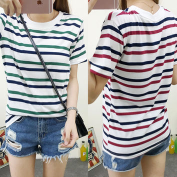 Summer Women Short Sleeve Cotton Loose Stripe T Shirt Casual Tops Blouse