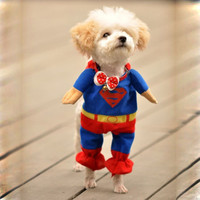 Cute Pet Dog Superman Clothes Costumes Suit Puppy One-piece Jumpsuit Apparel
