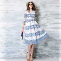 New British 2016 Summer Women's Printing Lace Long Dresses Female Casual Slim Clothing Fashion Women Sexy Party Dresses Vestidos