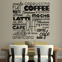 Wall Vinyl Sticker Decals Decor Art Kitchen Design Mural Pattern Coffee Sign Quote Lettring Wording Words Latte Cup Hot (z3081)