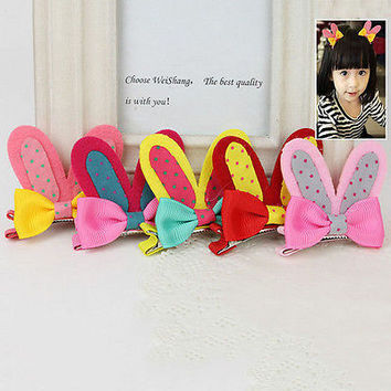 2 X Rabbit Ear Girl Kid Baby Hairpin Hair dress Fabric Hair Clip 5 Colors