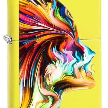 Glossy Neon Yellow with Colorful Head Silhouette Colored Image Zippo Lighter