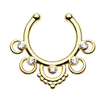 Five Rings CZ Gems Faux Septum Hanger