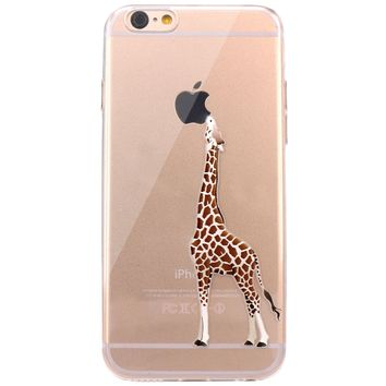 iPhone 6 Case, JAHOLAN Amusing Whimsical Design Clear Bumper TPU Soft Case Rubber Silicone Skin Cover for iPhone 6 6S - Eating Giraffe