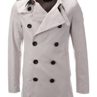 FLATSEVEN Mens Designer Double-Breasted Trench Coat
