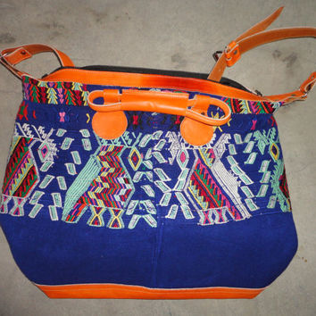 Handmade big bag, made of handmade fabrics and leather,original huipils, big bag from guatemala