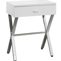 Accent Table - Glossy White, Chrome Metal Night Stand