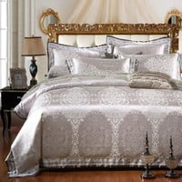 SunnyRain 4/6-Pieces Silver Luxury Bedding Set Queen King Size Bed Set Jacquard Lace Duvet Cover Bed Sheet Bed Linen