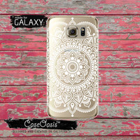 Mandala White Henna Style Line Art Indian Inspired Cute Tumblr Clear Galaxy S6 Case and Clear Galaxy S6 Edge Case Custom Samsung Case